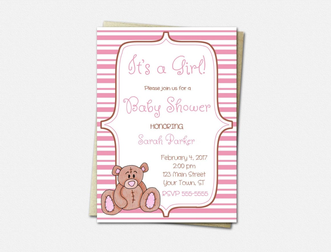 Pink Teddy Bear Invitatio...