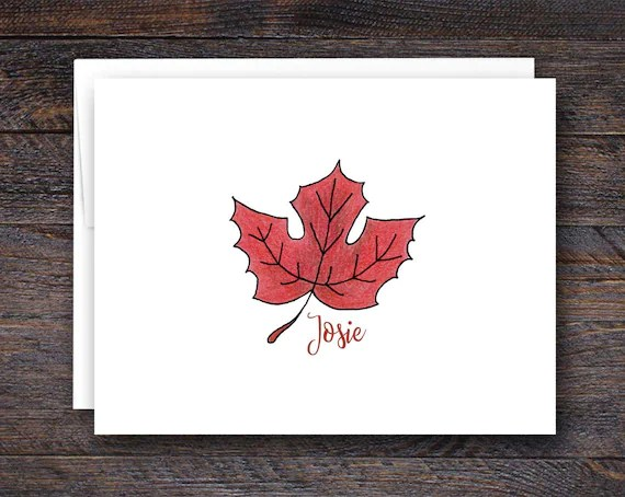 Maple Leaf Folded Note Cards