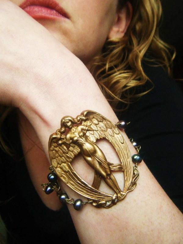 Steampunk Angel Bracelet Art Nouveau With Freshwater