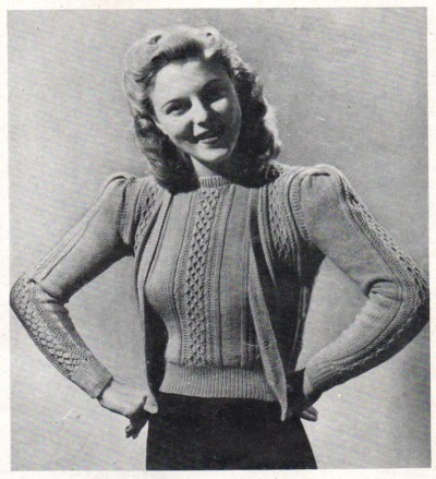 Vintage 1940s Twin Set knitting Pattern Jumper cardigan PDF image 0