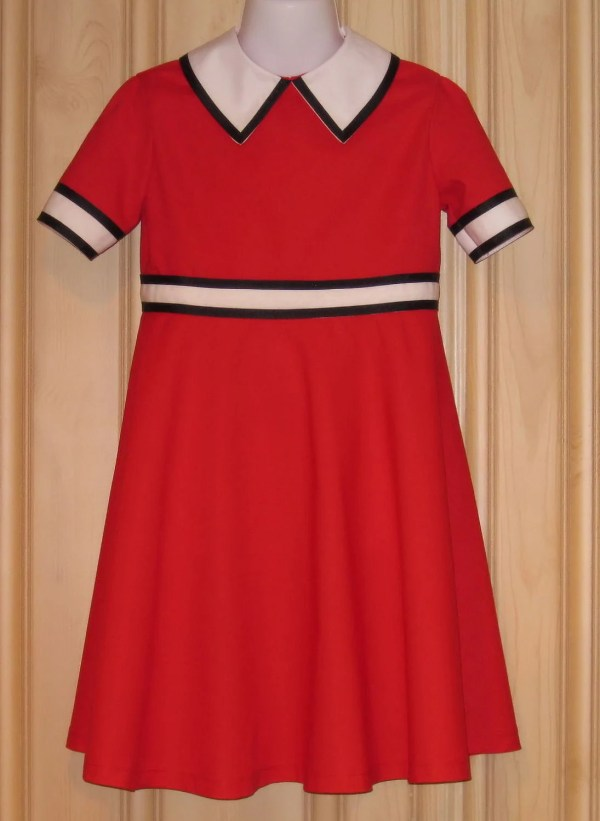 Annie Dress Withblack Trim Red Orphan Handmade In