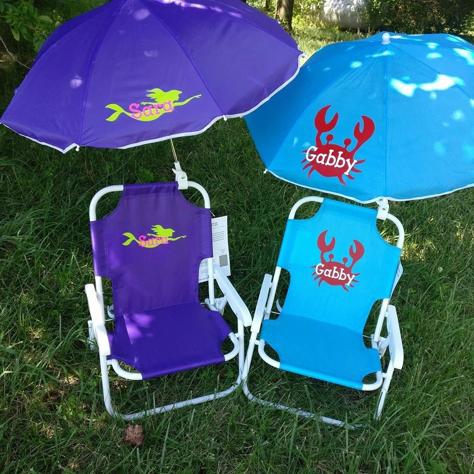 toddler beach chairs wingback chair covers uk kids childrens and umbrella monogrammed etsy 50