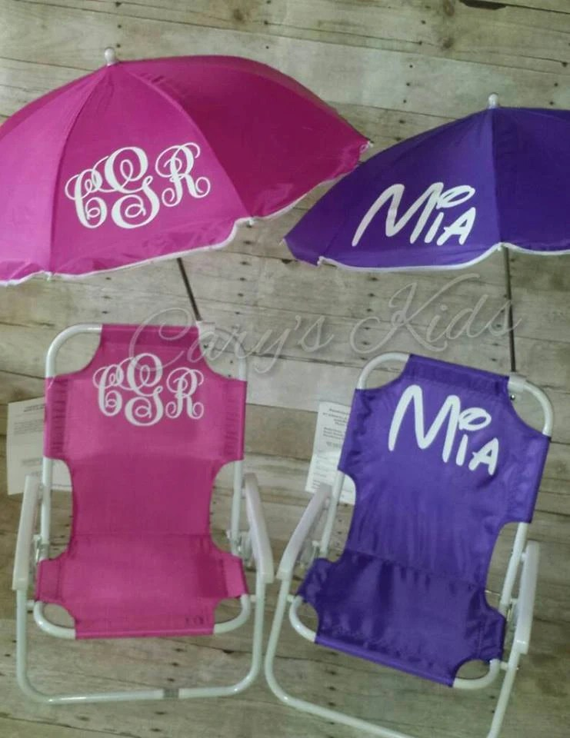 toddler beach chairs caravan zero gravity chair childrens and umbrella monogrammed etsy image 0