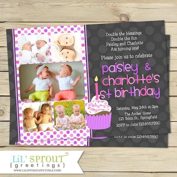 twin girl 1st birthday invitation