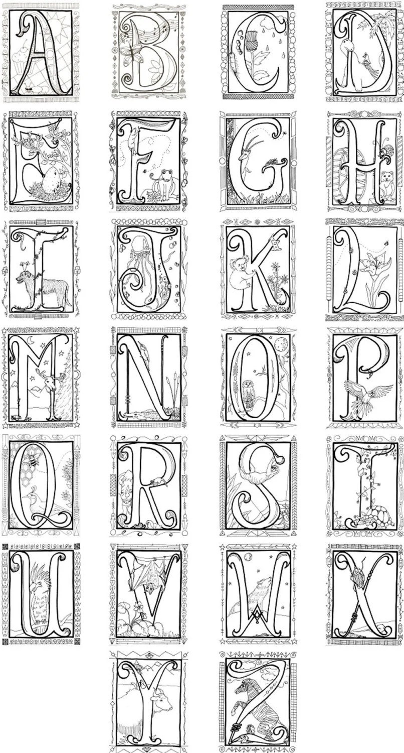 Items similar to Illuminated Alphabet Coloring Poster on Etsy