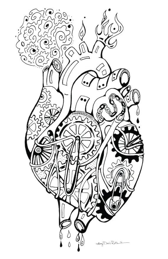 Mechanical Heart Coloring Art Print Robot 11x17 Poster Art
