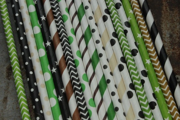 Camouflage Party Straws Paper Black Green Brown