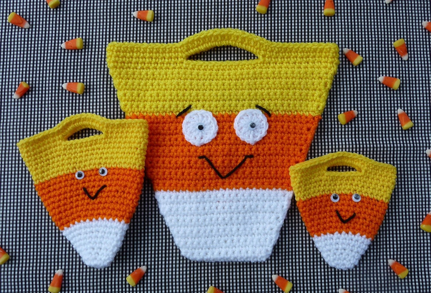 Candy Corn Halloween Bag Set Crochet Pattern Instant