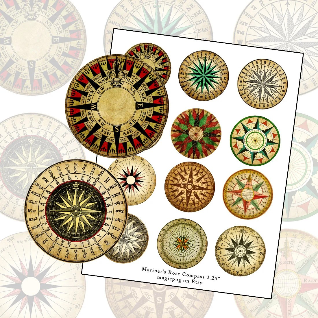 Mariner S Rose Compass Color Digital Collage Sheet 2 25in