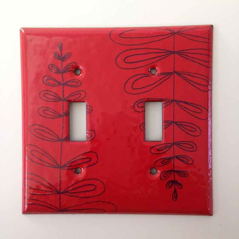 Enamel fern switch plate...