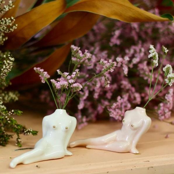 Bud Vase. White or Rose and Gold Feminist Porcelain Center