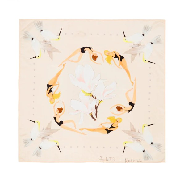 Printed Silk Scarf. Little Swimmers Illustration.