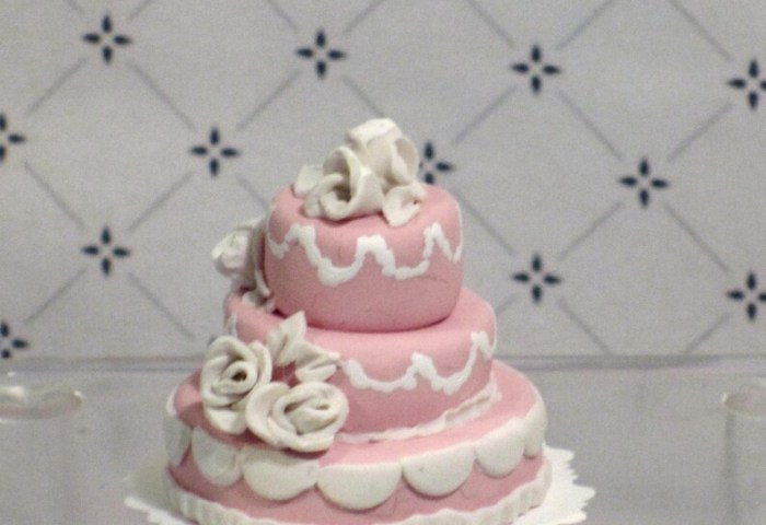 Miniature Pink And White 3 Tier Wedding Cake Etsy
