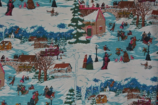 Victorian Christmas Fabric Thomas Kinkaid Currier And Ives Style Village Winter