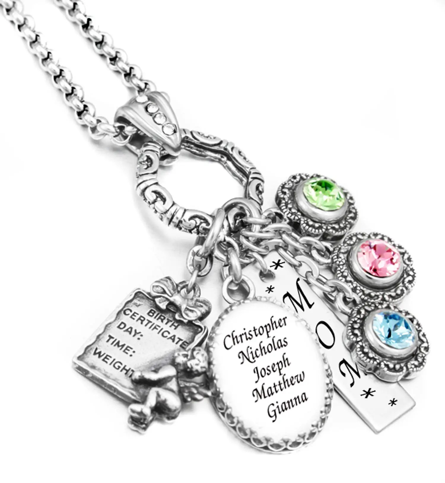 Personalized Mothers Necklace Birthstone Necklace Family