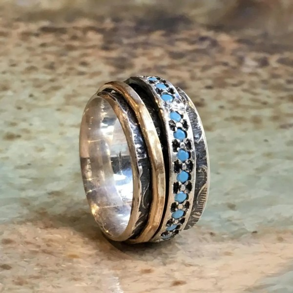Meditation Ring Silver Band Blue Opal Gold Filled