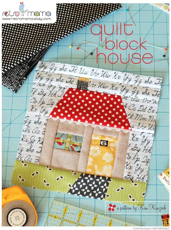 House Quilt Block Patterns : house, quilt, block, patterns, Quilt, Block, House, Patchwork, Sewing, Pattern