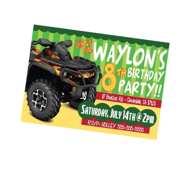 4 Wheeler Invitation Birthday Party Atv Invite Boys Four