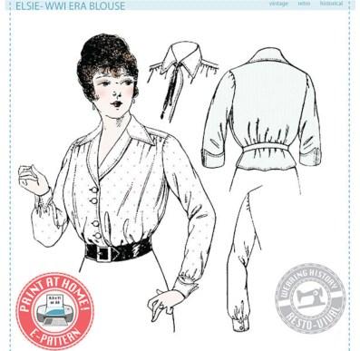 WW1-era blouse, Elsie by Wearing history.
