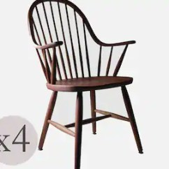 Windsor Chair Kits Recliner Chairs Argos Cherry Etsy Set Of 4 Vintage Wood Spindle Back Dining Arm Modern Farmhouse