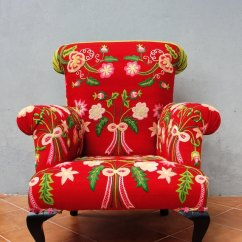 Floral Arm Chair Armchair Design Bergere Embroidered Flowers And Bows Etsy Image 0