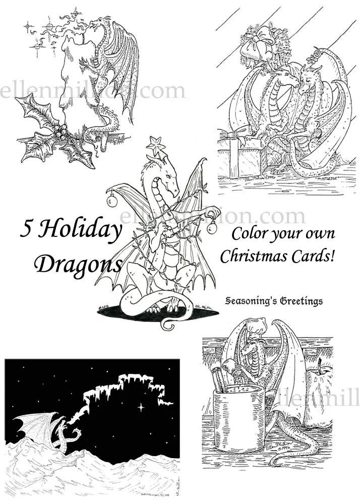 Items similar to Digital Holiday Dragon Coloring