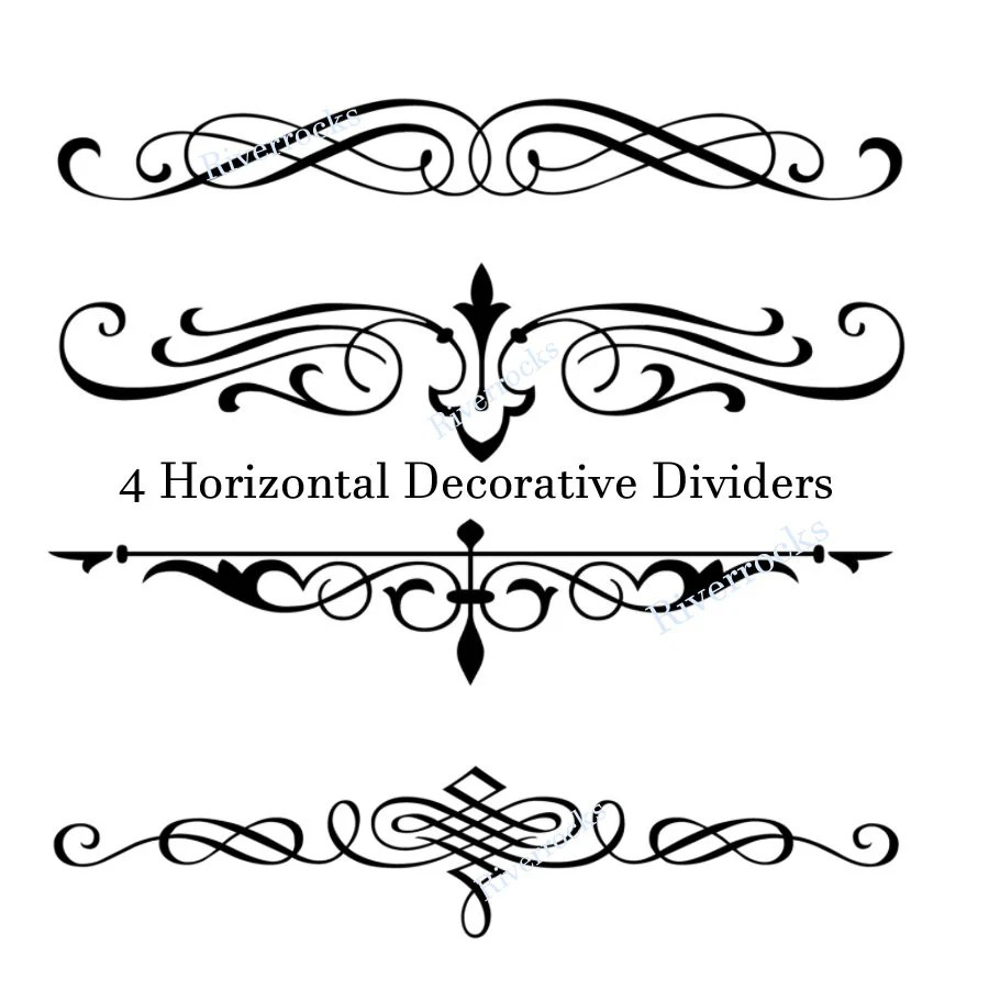 Decorative PNG Black Scroll Dividers Accents Filigree