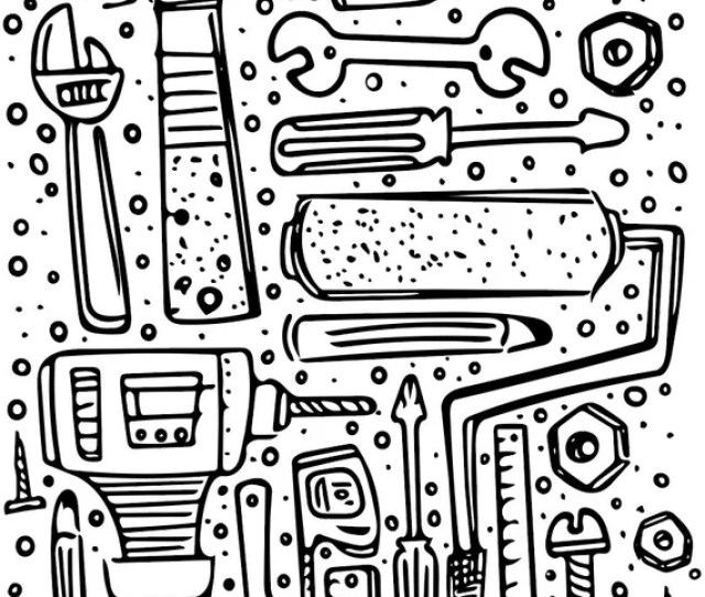 Printable Coloring Page Construction Tools And More Etsy
