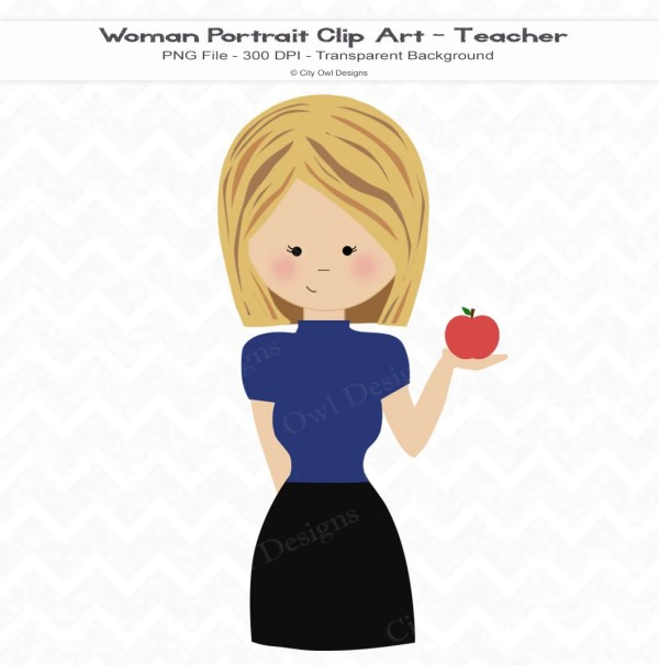 Teacher Clip Art Blonde Hair School Digital