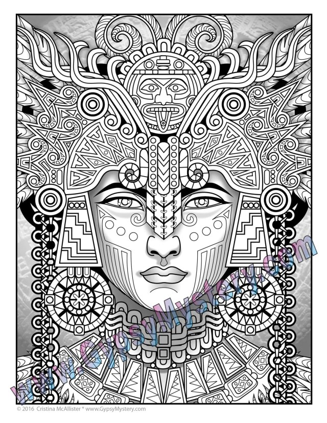 Single Coloring Page - Mayan Astrologer from the Magical Beauties  Collection - Download, Print & Color!