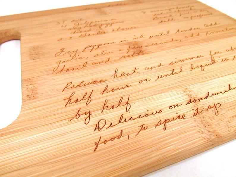 handwritten engraved cutting board