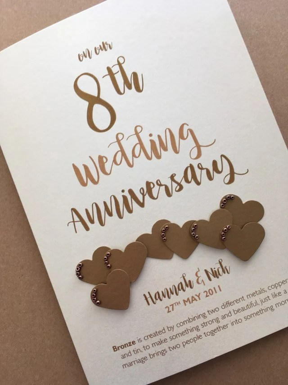 Happy 8 Year Anniversary : happy, anniversary, Bronze, Years, Wedding, Anniversary, Personalised