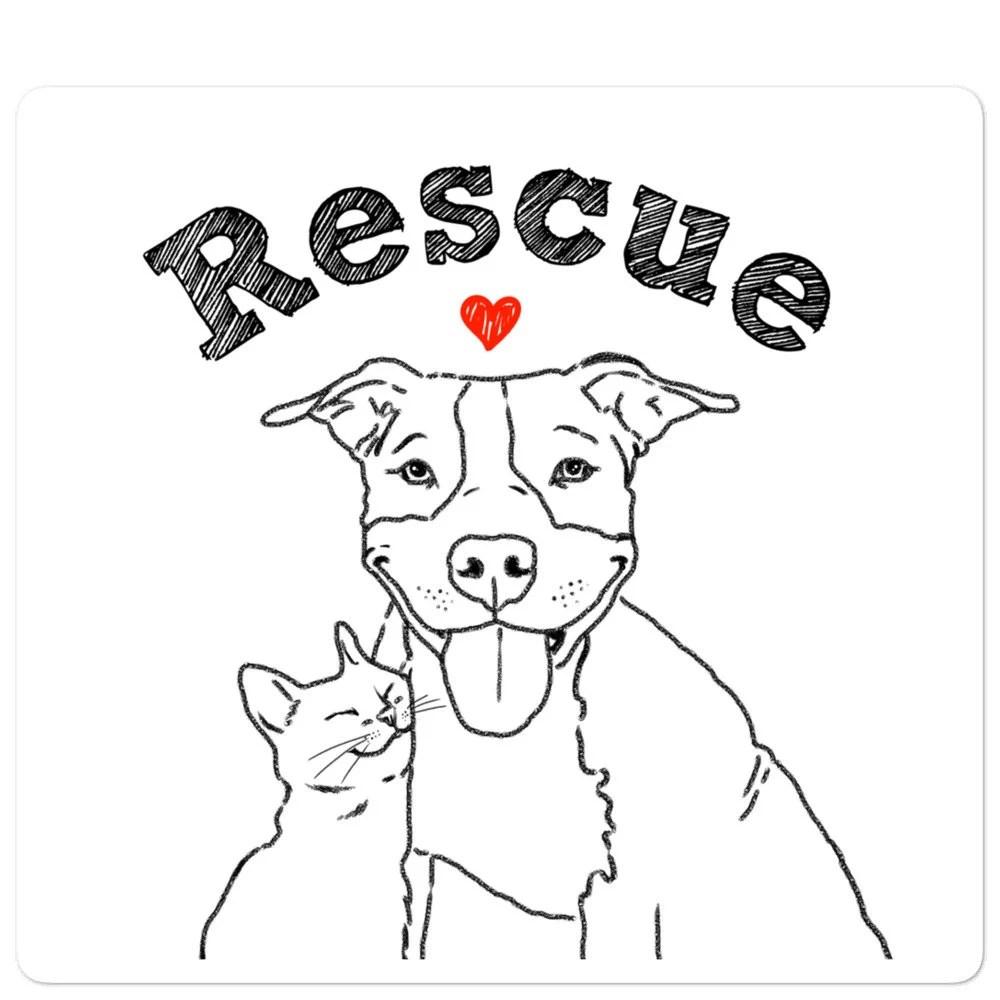 Rescue Pittie et Kitty Sticker Animaux de sauvetage