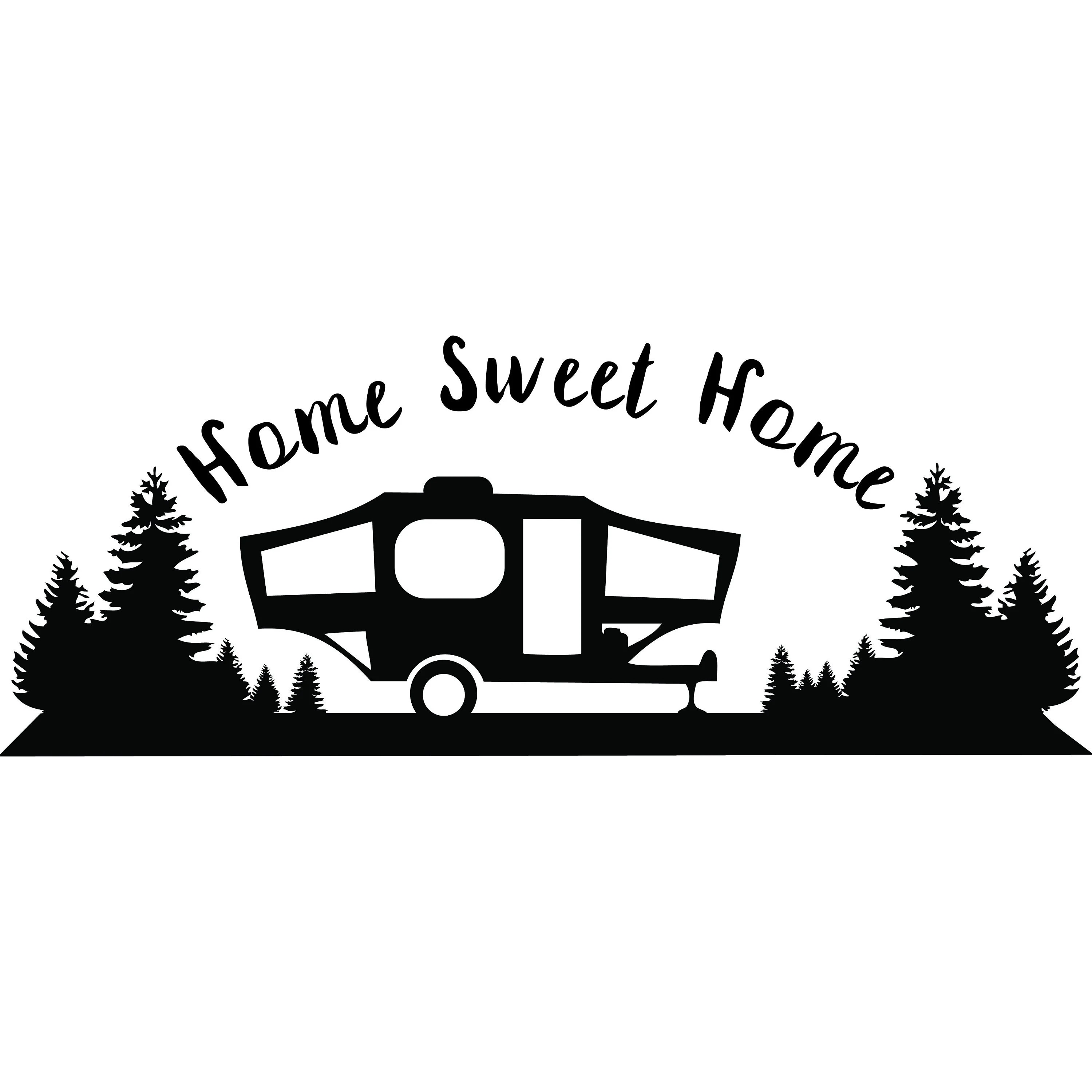 Popup Camper Home Sweet Home Svg Silhouette Cameo Cut File