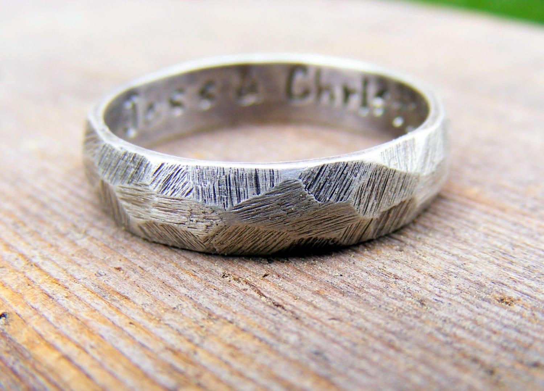Palladium Sterling Silver Wedding Ring Mens Textured Ring  Etsy