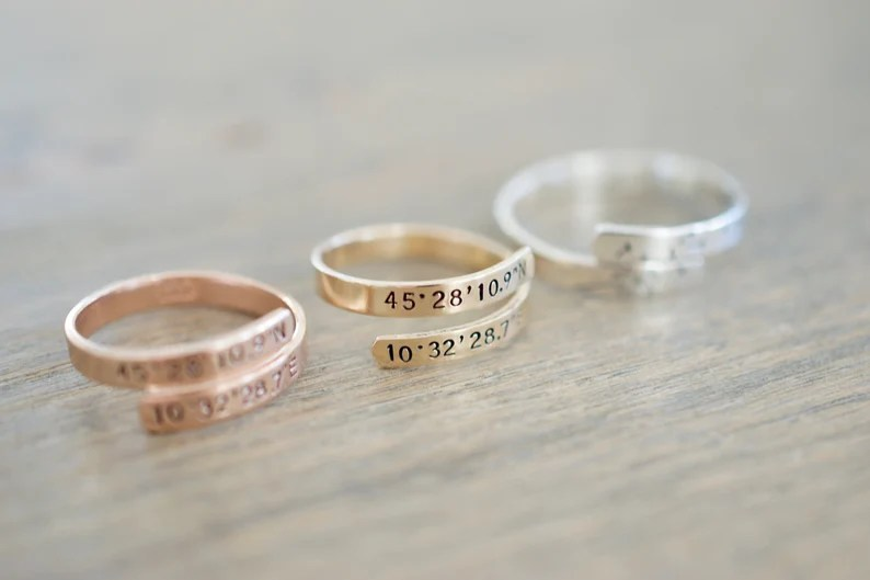 Coordinates Wrap Ring  Sterling Silver Gold Filled Rose image 0