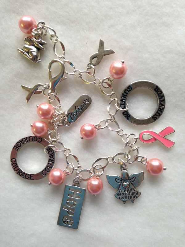 Free Ship Breast Cancer Charm Bracelet. Survivor