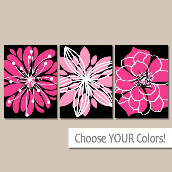 Black Hot Pink Wall Art Canvas Or Prints Hot Pink Black Etsy ...