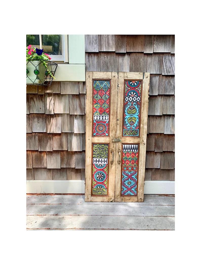 Repurposed Vintage Indian Teak Shutter Set Ready To Ship Mosaic Wall Art Horizontal Art Or Vertical Wall Art Narrow Wall Art Bathroom Art