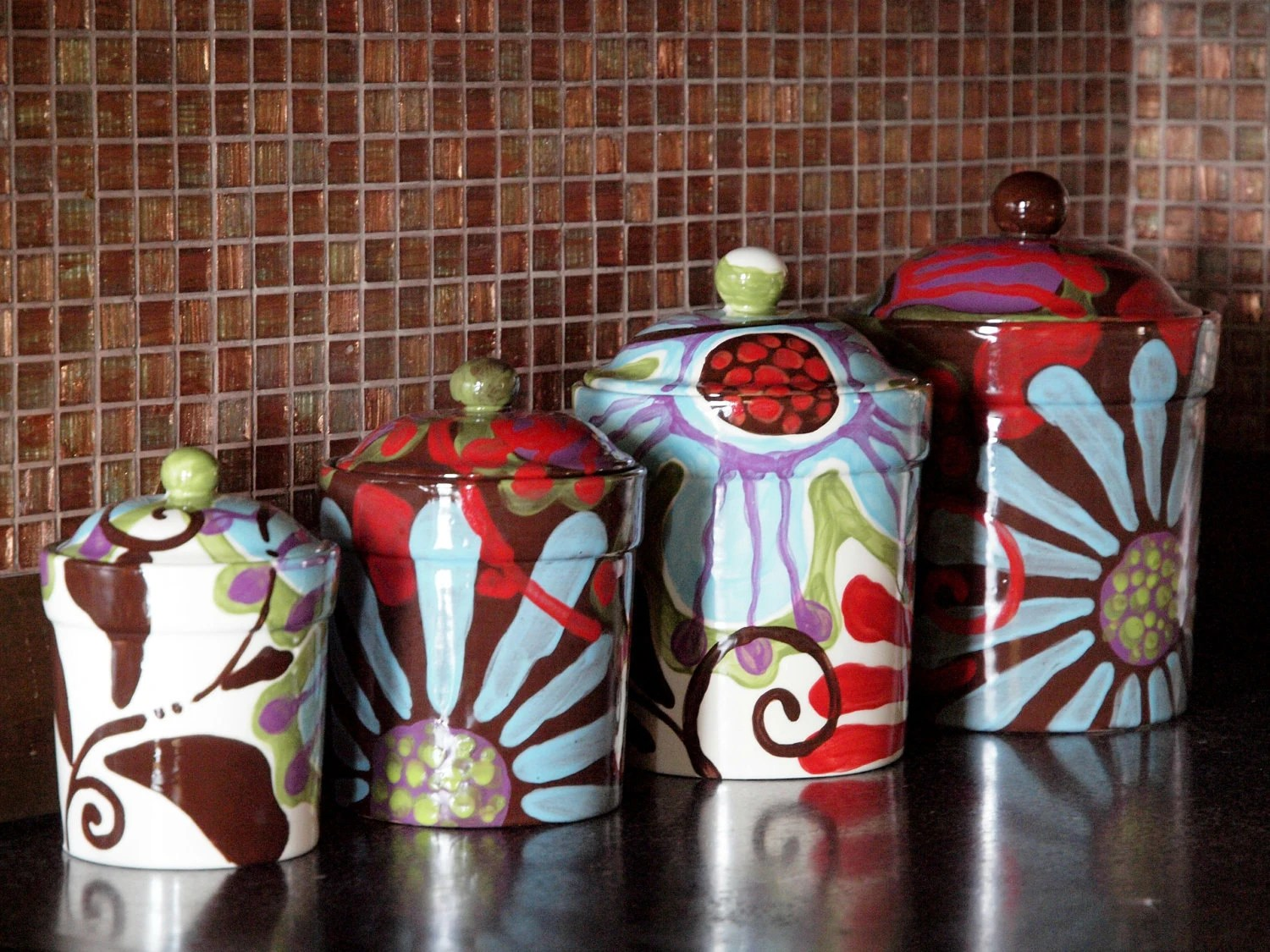 kitchen pottery canisters cabnets canister set ceramic etsy colorful urban decor boho hippie uf