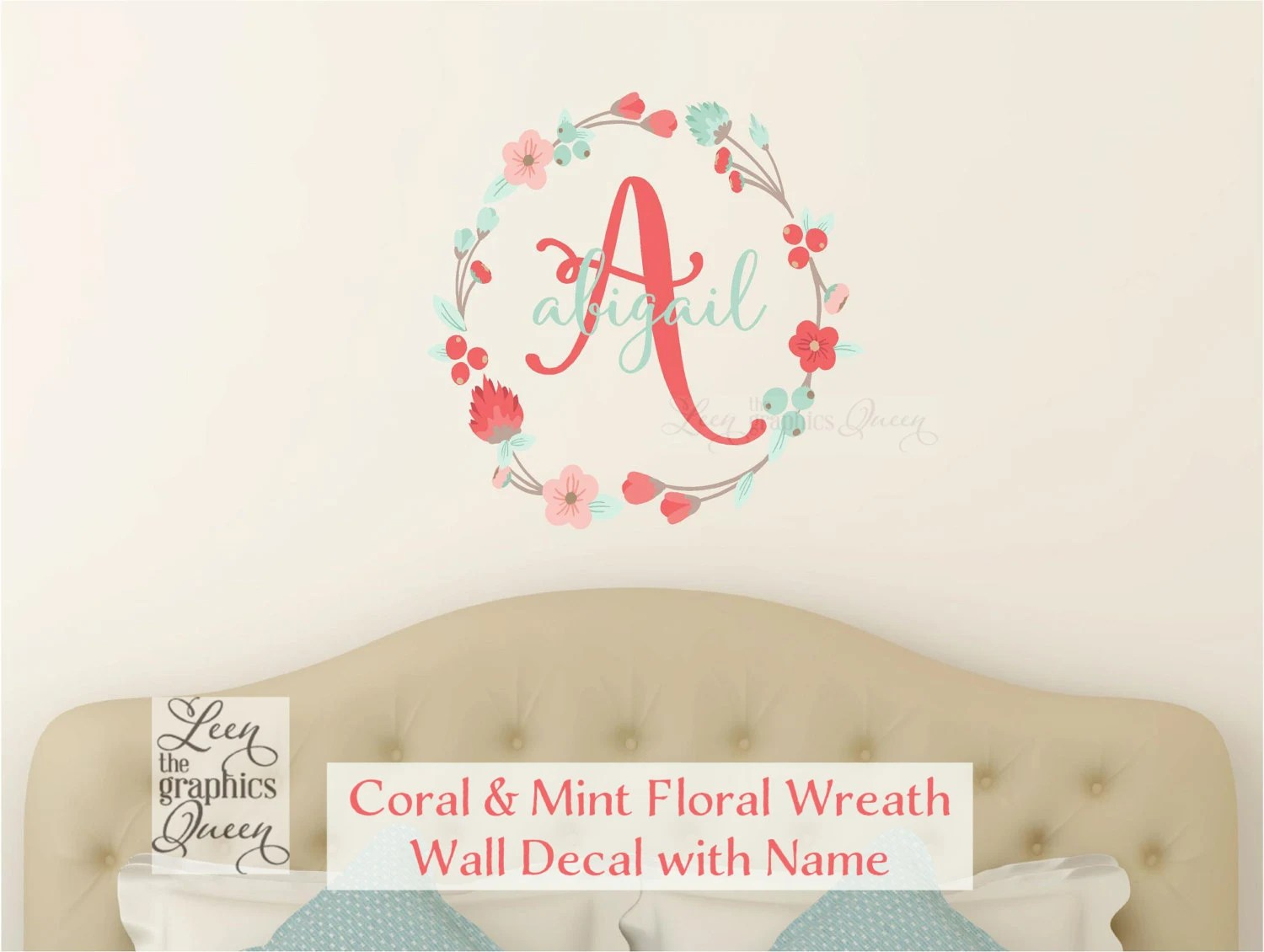 coral mint wall decal monogram and name with floral wreath etsy