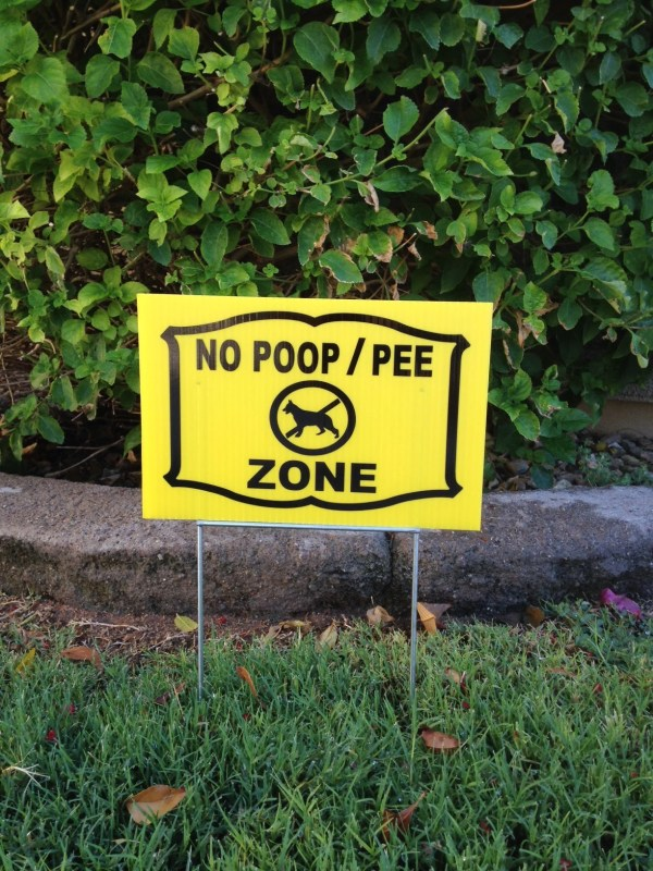 1 Sign And Steel Stand Dog Poop Pee Zone Lawn