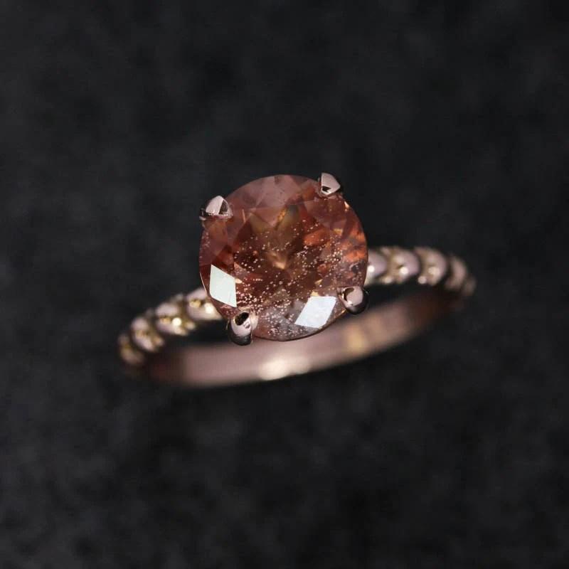 Oregon Sunstone Ring 14k Rose Gold Ring Gemstone Ring Gold