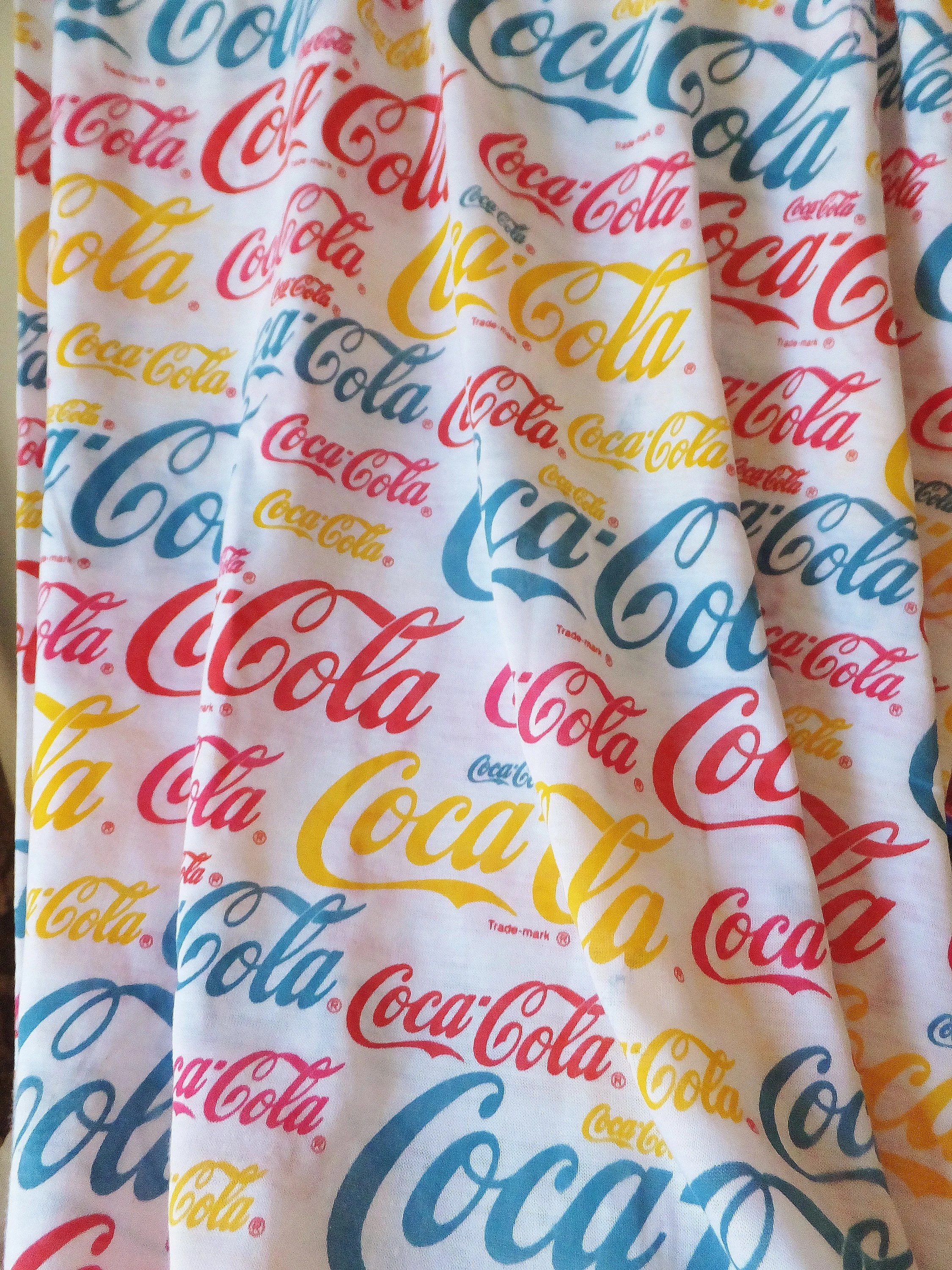Coc Roter Teppich Coca Cola Stoff Jersey Stoff Coca Cola Marke Logo Stoff Rot Blau Gelb Stoff T Shirt Stoff Stretch Jersey Nähen Stoff