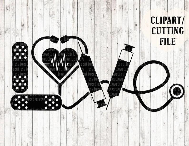 Download LOVE nurse svg nursing svg rn svg doctor cut files   Etsy