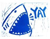 Shark Week // Linocut Print //