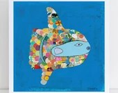 Collage Art Print // Nautical Home Decor // Mola Mola Sunfish