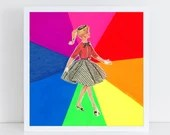 Rainbow Girl // Collage Art Print