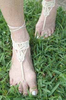 Crochet Barefoot Sandals Knit Anklets Beach Wedding Foot
