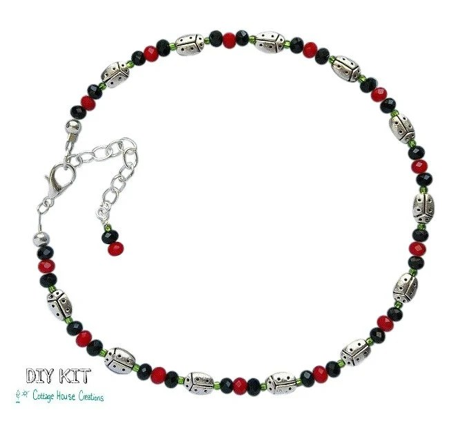 Ladybugs DIY Bead Kit Anklet Jewelry Making Beads Supply